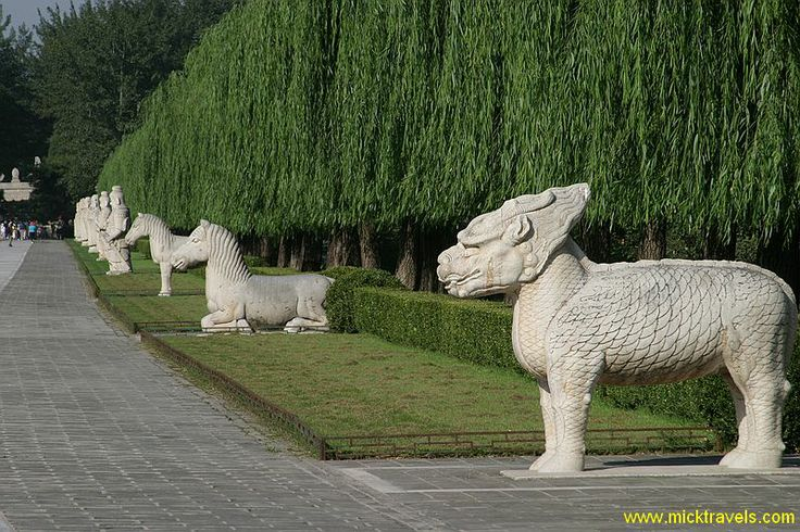 The xie zhi is an animal of lore. This is looking back towards the entrance where the statues of the officials started.  Sacred Way, Beijing...