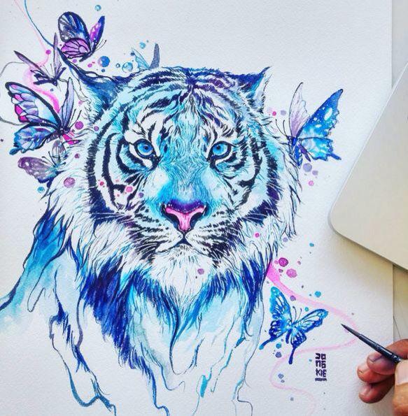 Blue tiger. Water color works by Indonesian artist: Luqman Reza Mulyono.Jongkie art.