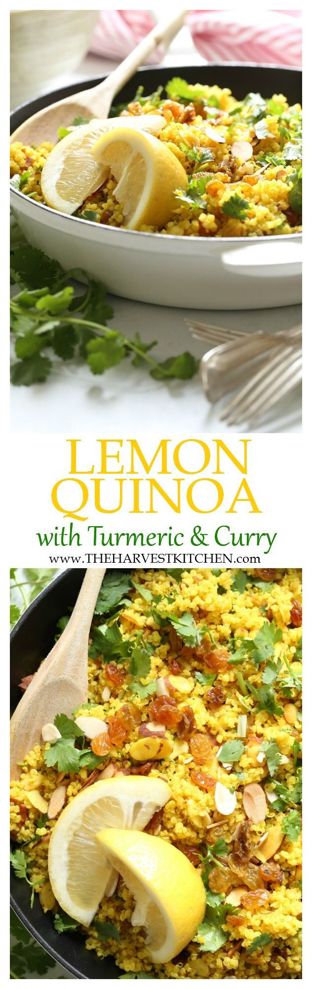 This Lemony Quinoa has a fresh delicious combo of flavors. It's lightly spiced with curry, turmeric and cumin, and it makes a great healthy side dish to grilled fish or chicken.