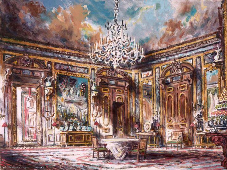 Hòtel de la Vaupalière (Paris); The dining room; Oil on canva, 30x40 cm; Philippe Casanova 2017