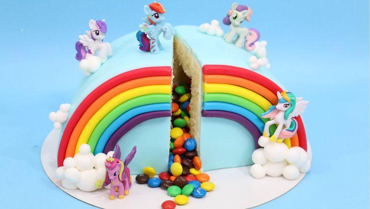 How to make M&M PIÑATA Rainbow My Little Pony Cake by CakesStepbyStep