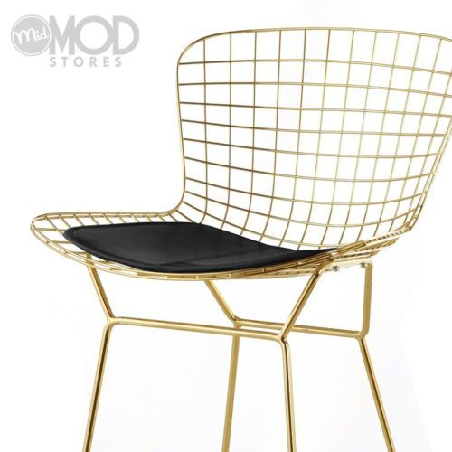 Wire Counter Stool With Seat Pad Wireback Modern Mid