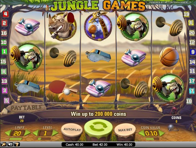 Jungle Games Video Slot review from Net entertainment