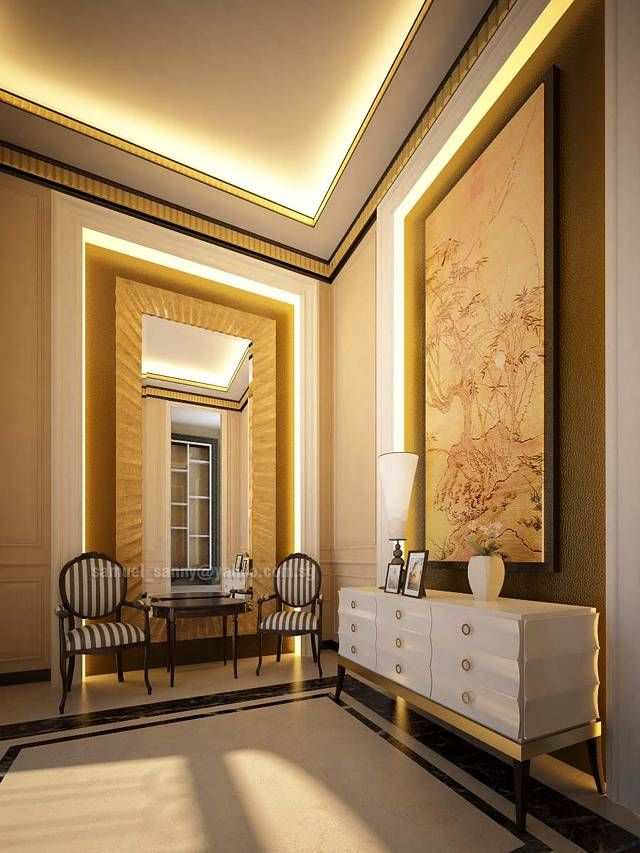 amazing classy foyer design with mirror and twin stripes pattern fabric arm chair and round teak wood coffee table feats fluorescent lighting ceiling and - Foyer Designs Ideas