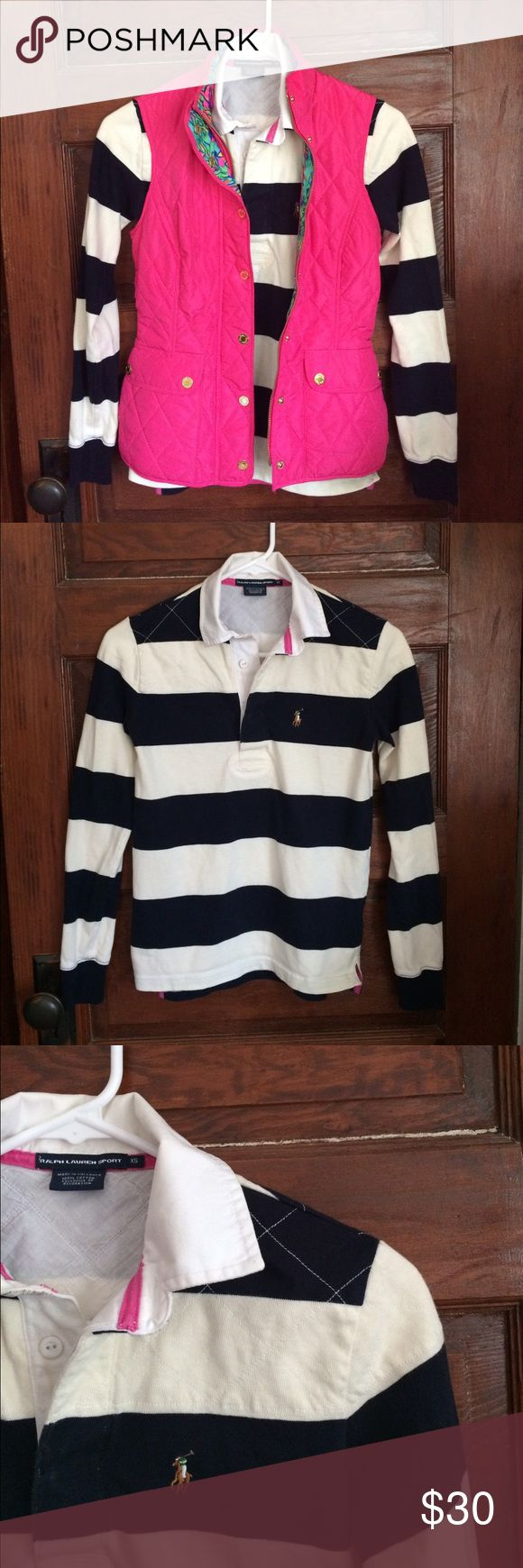 XS Ralph Lauren Sport Long-Sleeved Rugby Shirt 100% cotton. White and navy. Excellent used condition; only imperfection is a small stain by the button, which is covered when the shirt is buttoned halfway. Perfect addition to a casual fall/winter outfit! It goes well with a vest or by itself - and its preppy, soft, and cozy. Ralph Lauren Tops