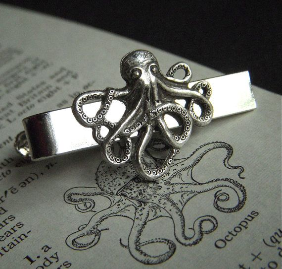 Octopus Tie Clip Silver Plated Gothic Victorian Steampunk Style Vintage Inspired Men's Accessories By Cosmic Firefly