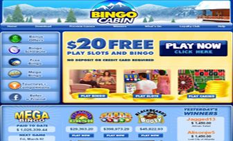 "Bingo Cabin UK, founded  in mid-2004, serves in English and unfortunately does not accept any bingo player from USA. Although Bingo Cabin UK mainly focuses on Online Bingo as her main area of activity, she also serves in ""Slots"" and ""Casino Games"". ..."