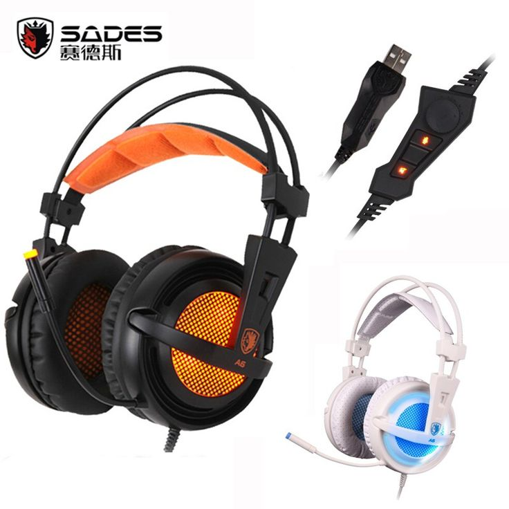 Buy online US $25.90  SADES A6 USB Gaming Headphones Professional Over-Ear Game Headset 7.1 Surround Sound Wired Mic for Computer PC Gamer  Get discount for product: Samsung