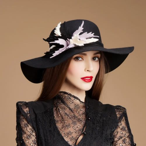 black wool wide floppy brim winter fashion dress
