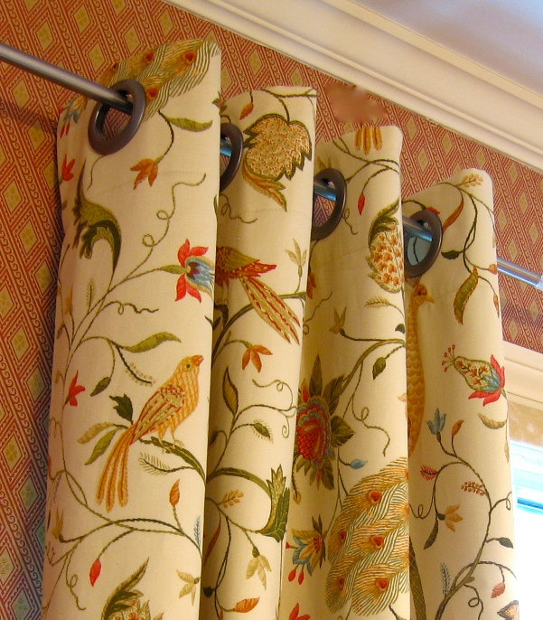 "2   50"" x 90"" Grommet Window Panel Drapes, Peacock, Bird, Floral Fabric, Yellow, Green, Rust, Tan - Lined. $260.00, via Etsy."