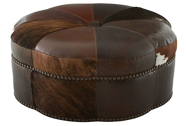 Saroya Hide Ottoman on OneKingsLane.com  REALLY LIKE THE VARIOUS LEATHER FITTED PIECES TO MAKE UP THIS OTTOMAN!