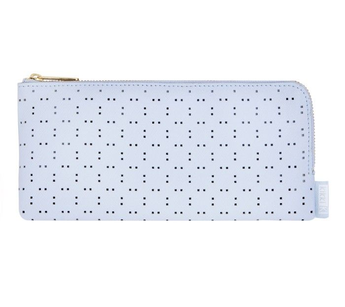 PERFORATED LEATHER PENCIL CASE: ICE BLUE