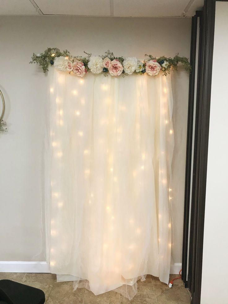 DIY lit tulle background