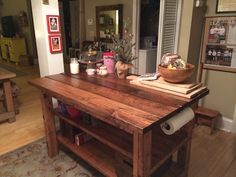 Ana White | Build a Rustic Kitchen Island - Featuring House Food Baby | Free and Easy DIY Project and Furniture Plans