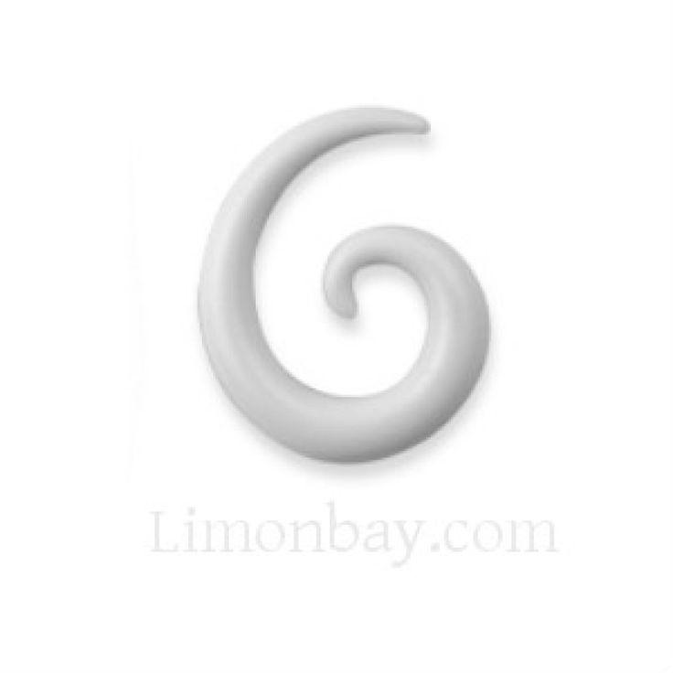 Taper, dilatador acrílico en espiral blanco. Varios tamaños. Ideal para usar en tu dilatación de lóbulo, en tu piercing de oreja., 1.50
