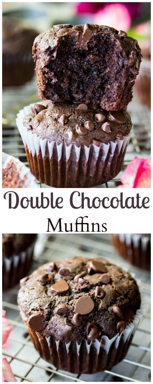 Easy double chocolate muffins!  These are easy from scratch muffins and a chocolaty favorite!  || Sugar Spun Run via @sugarspunrun (Favorite Cake Sugar)