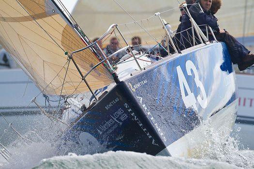 Close up of the bow of the Beneteau Figaro II yacht 'Artemis Figaro 2' at the start of a Class 2 IRC race  during Aberdeen Asset Management Cowes Week. #sailboats #boats #sailing