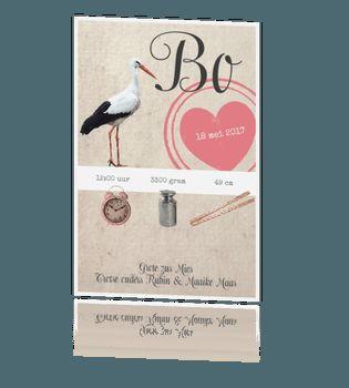Stoer vintage geboortekaartje met ooievaar
