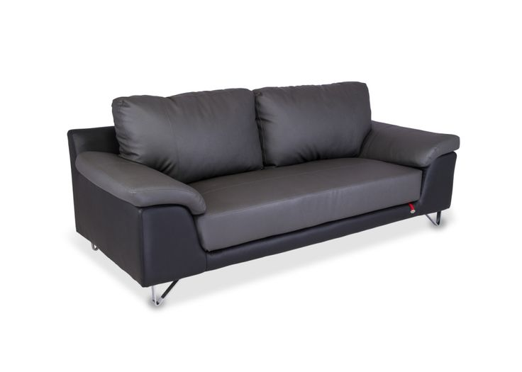 The Mesa 3 Seater Nappa Aire Sofa from Durian has cushions tah are upholstered in a classy smoke grey upholstery with two separate cushions for the back.
