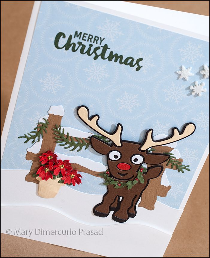 317 best cards character dies pop it ups images on for Reindeer christmas card craft