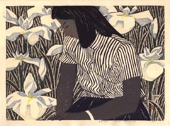 Hashimoto, Okiie (1899 - 1993): Girl and Irises