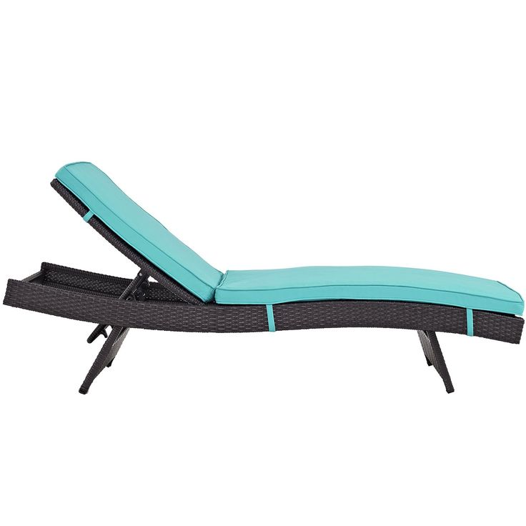 Plutus Brands MF1681 Outdoor Patio Chaise, Espresso Turquoise. Modern Outdoor Chaise Lounge Synthetic Rattan Weave Machine Washable Cushion Covers Powder Coated Aluminum Frame Water & Uv Resistant. Machine Washable Cushion Covers. Material: synthetic rattan weave, powder coated aluminum; cushion density is 24KG/M3.