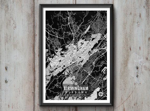 "Birmingham Alabama Map with Coordinates _______________________________ - Print size available in: 13"" x 19"", 12 x 18, 11 x 14, 8 x 10, 6 x"