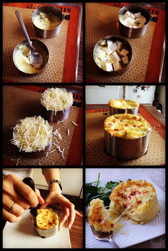 Moelleux aux pommes de terre, menthe, mozarella