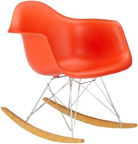 Vitra 4401130003 Stuhl RAR Eames Plastic Armchair Gestell Verchromt, Rot