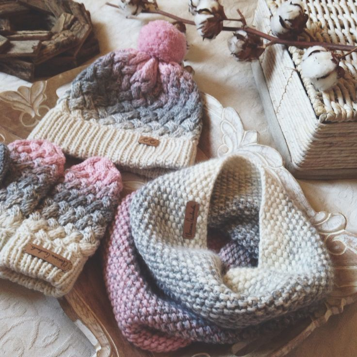 Knitted hat, mittens and snood