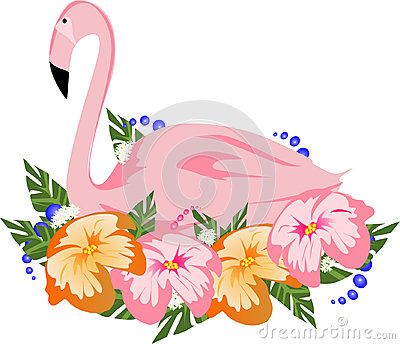 Illustration of a pink flamingo which normally nests on a  mound of mud but here concealed by orange, pink and white flowers, white background.