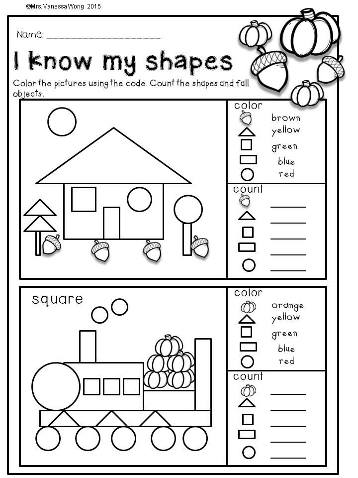 Download free printables at preview. I know my shapes.  Fall Math and Literacy…