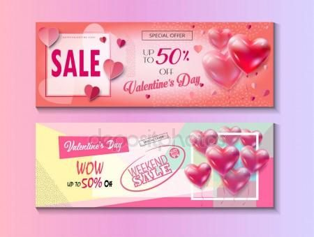 Download - Sale discount banner for Valentines Day set. Vector template. Special offer poster with heart balloons, price tags, festive background. Love, poster, banner, coupon, voucher, price tag. Set of Typography Gift card Advertising design — Stock Illustration #141592112