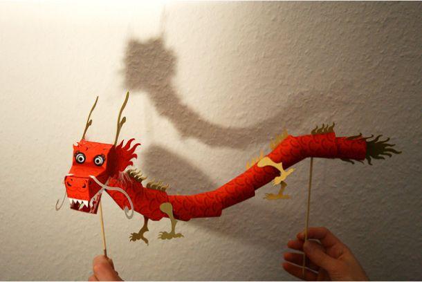 Dragon chinois Paper Toy en plusieurs couleurs, niveau avancé