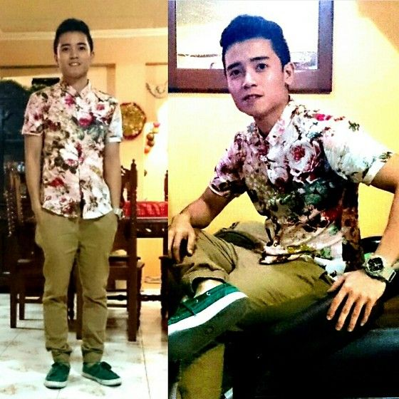 Get this look: http://lb.nu/look/6880090  More looks by Mark Aquino: http://lb.nu/macquesquared  Items in this look:  Floral Printed Shirt, Brown Jogger's, Converse Green Canvass