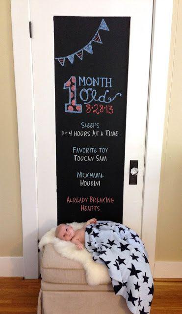 1 month old curlyqpaper.blogspot.com #chalkboard