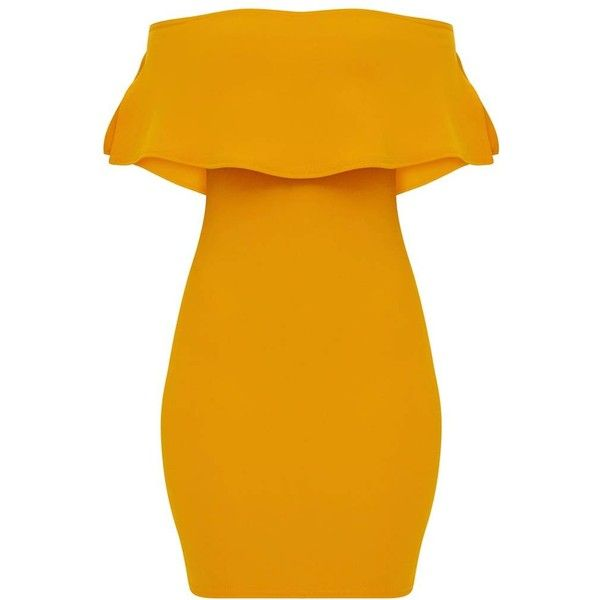 Mustard Bardot Frill Bodycon Dress (1,950 INR) ❤ liked on Polyvore featuring dresses, mustard yellow dresses, body con dress, orange bodycon dress, flutter-sleeve dress and cold shoulder dress