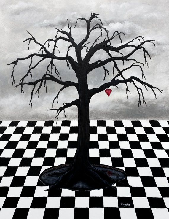 Black Tree - Red Hanging Heart
