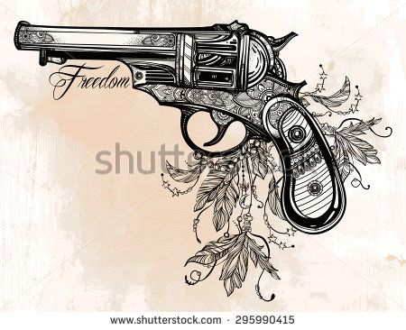 Hand drawn Retro Gun Revolver Pistol with feathers in vintage style. Freedom symbol. Ornate tattoo design element. Vector illustration isolated. Cards, t-shirts, scrap-booking, print concept art. - stock vector