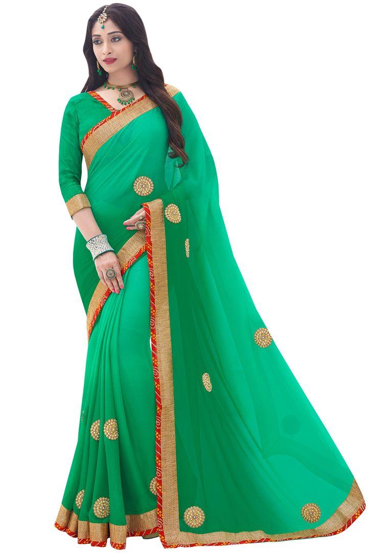 #Green #Chiffon #Designer #Saree #nikvik  #usa #designer #australia #canada #freeshipping #dress #saris