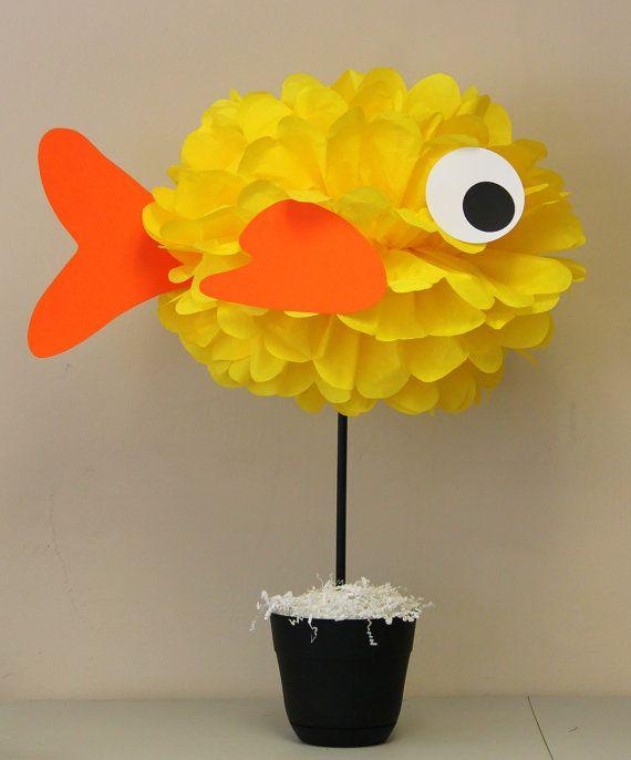 Fish Goldfish tissue paper pom pom kit under by TheShowerPlanner
