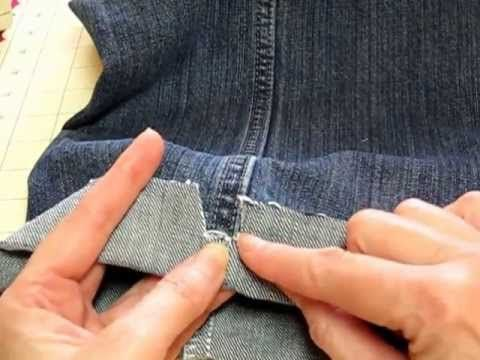 cynsew - Hemming Jeans The Easy Way on YouTube. Great idea to take a chunk out of the side hem to reduce number of layers for sewing bottom hem