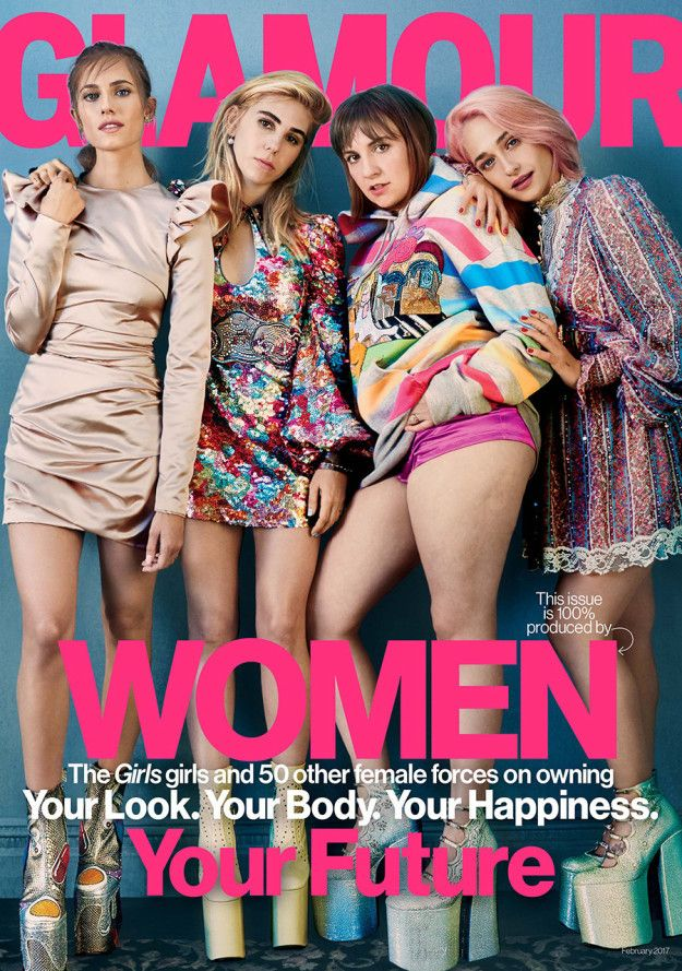 Lena Dunham, along with her Girls co-stars Jemima Kirke, Allison Williams, and Zosia Mamet, is on the cover of the latest issue of Glamour magazine. | Lena Dunham Thanked Glamour For Leaving Her Cellulite On The Cover