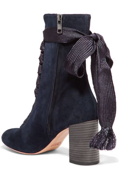 Heel measures approximately 70mm/ 3 inches Navy suede Lace-up front, concealed zip fastening along side Made in Italy