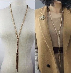 2014 Newest !!! Korean Fashionable Upscale Women Gold Plated  multilayer Tassel Long Necklace/Sweater Chain XY-N149