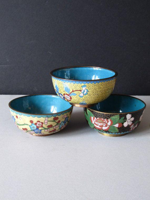Cloisonne Enamel Bowls boho Asian home decor by justynamrugala