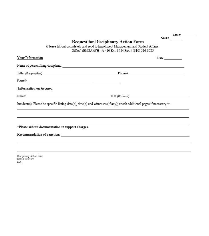 Download Disciplinary Action Form 29 Biography Template Templates Form