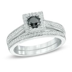 0.50 CT. T.W. Enhanced Black and White Diamond Square Frame Bridal Set in Sterling Silver  - Peoples Jewellers