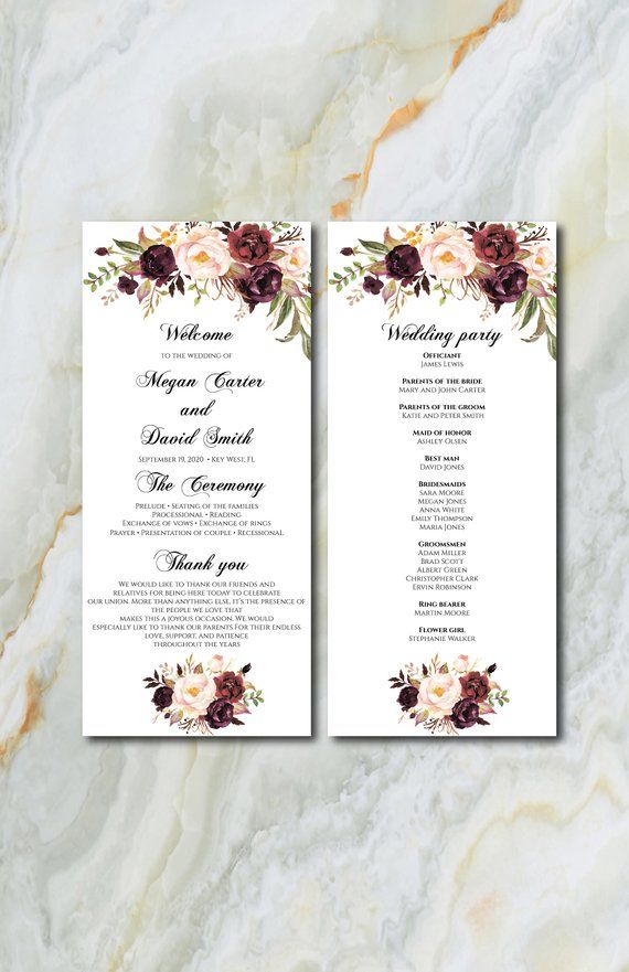 Letter or A4 Size Wedding Reception Program Fan Item code: P1046 Printable Wedding Program Printable- Modern Burgundy Wedding Program