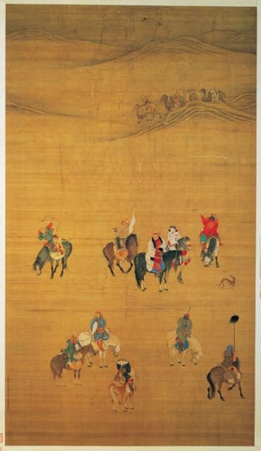 """Kublai Khan (also spelled Kubla, Khubilai) on a Hunt,"" Liu Kuan-tao,   Yüan dynasty, Hanging scroll."